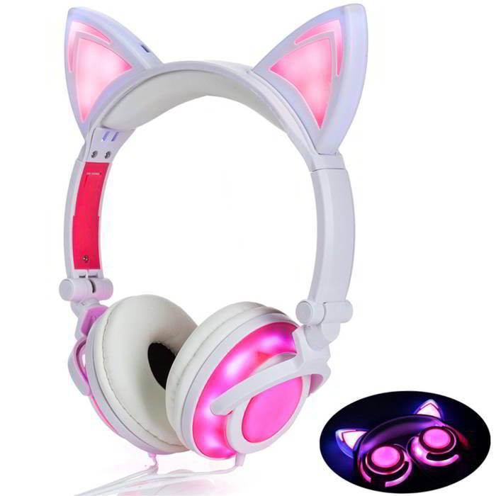 Auriculares con orejas de gato