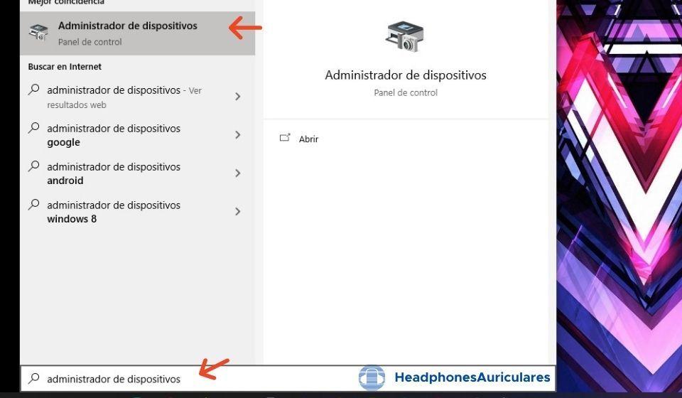 administrador de dispositivos buscando bluetooth para auriculares