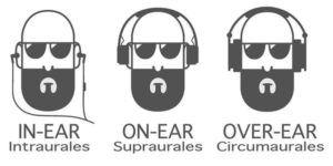 auriculares in-ear on-ear over-ear